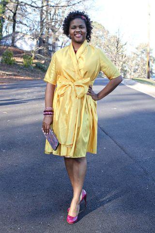 Retro style yellow dress with bow sashsm