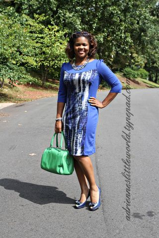Blue print color block dress5a