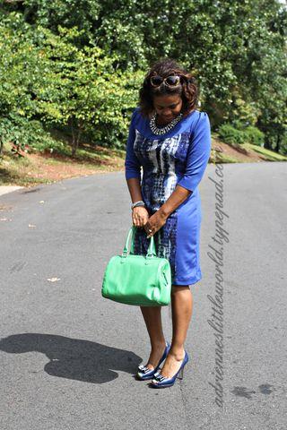Blue print color block dress4a