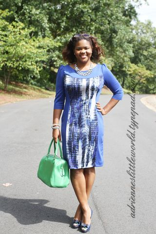 Blue print color block dressa