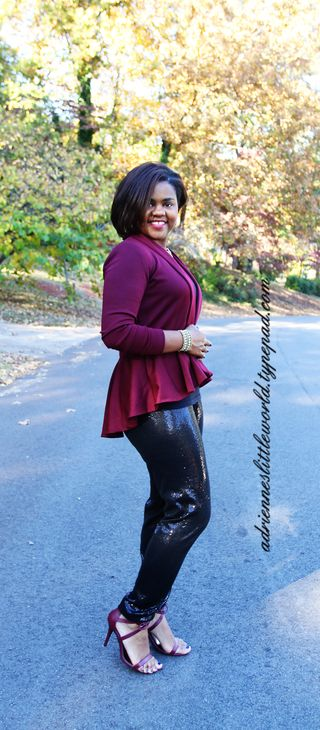 High low cardigan and sequin pants2a