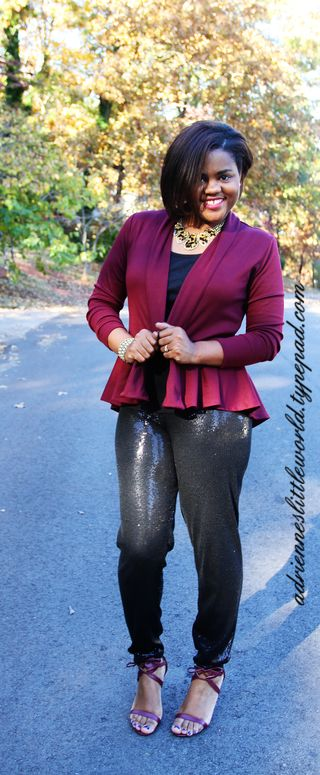 High low cardigan and sequin pantsa