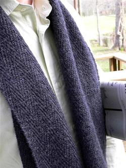 Вязание спицами мужского шарфа.  Выполнение работы: на две чулочные...